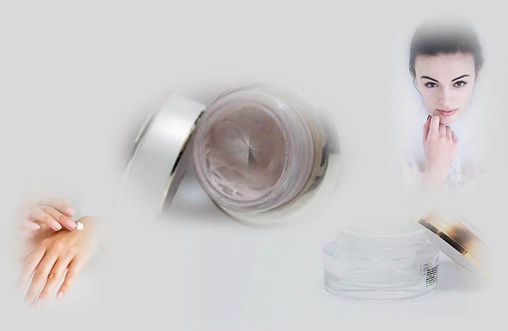 טיפ קרם המכיל אבקת יהלומים עבודה בעיניים!תמונה של בחורה וקרם עם יהלום בתוכו.