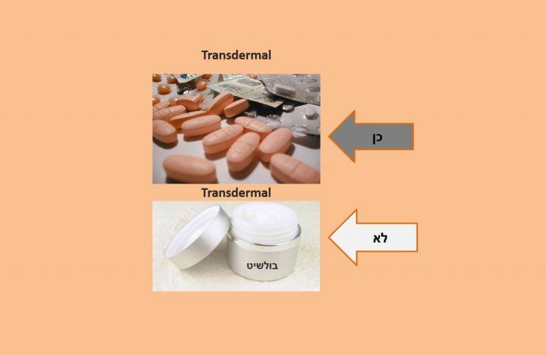טרנס דרמל אפקט טרנס דרמלי לא קיים בקרמים רק בתרופות.תמונה של קרם לפנים ושל קפליות תרופה.