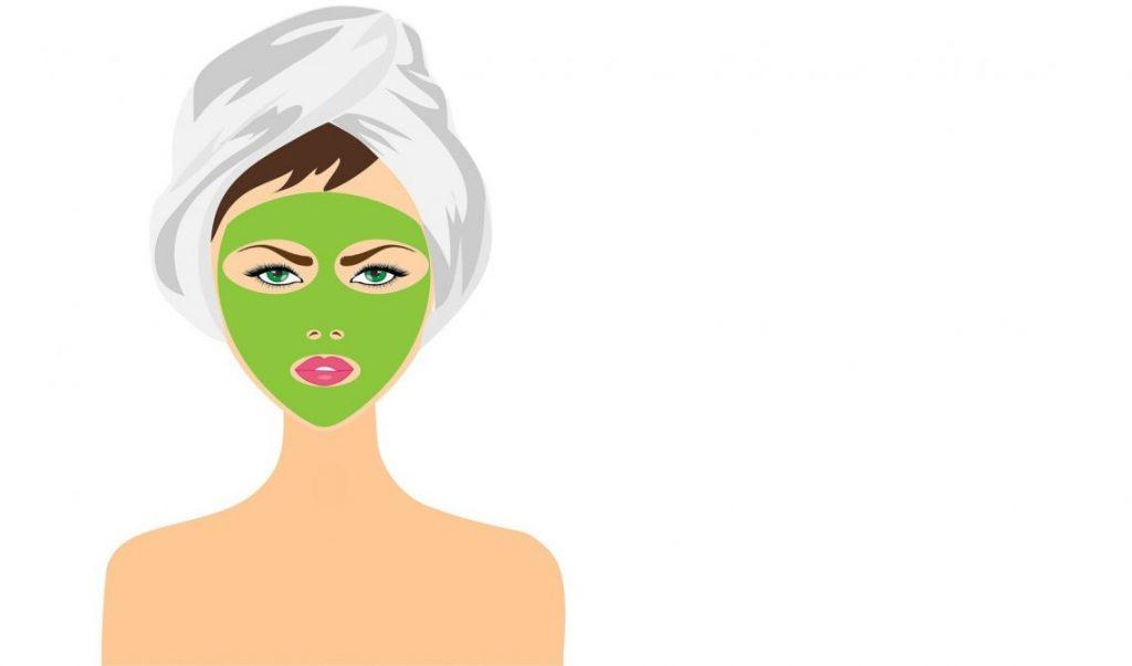טיפול וטיפוח הפנים תמונה של אישה עם מסכת יופי על הפנים.