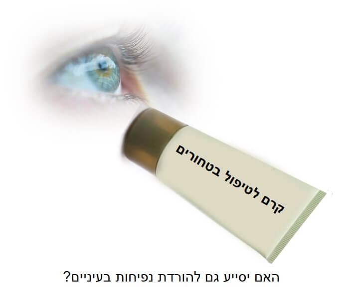 נפיחות בעיניים / שקיות מתחת לעיניים - טיפ מדליק! תמונה של קרם נגד טחורים לטיפול והורדת נפיחות מהעיניים.