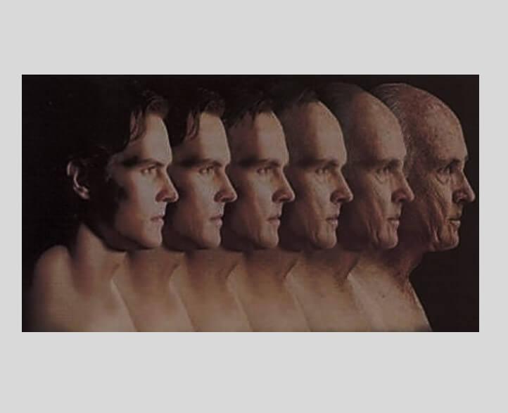 עור נפול, קמטים וקמטוטים בפנים - טיפ להתקמטות ונפילת עור כל השיטות תהליך ההזדקנות אצל גברים. תמונה של דורות גברים.