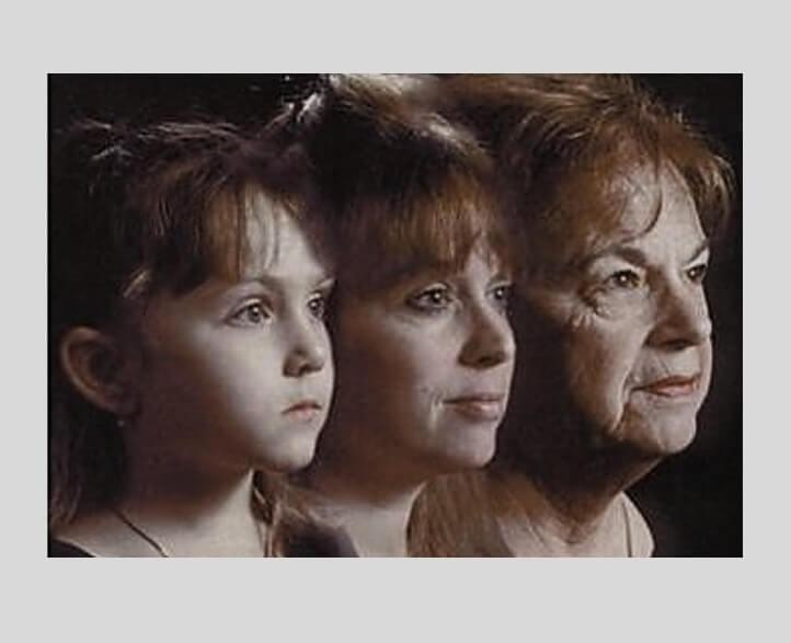 עור נפול קמטים וקמטוטים בפנים - טיפ להתקמטות ונפילת עור תהליך ההזדקנות אצל נשים. תמונה של 3 דורות סבתא אם וילדה.