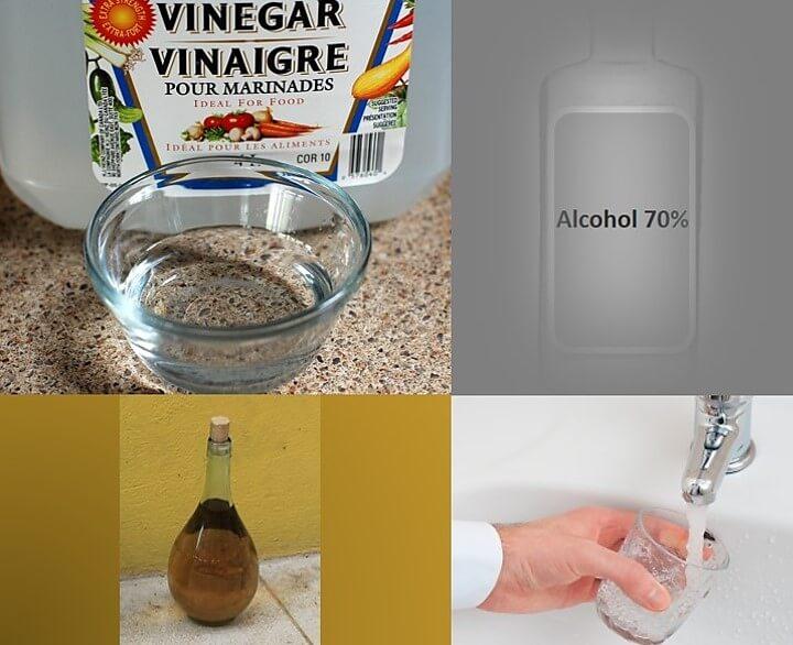 טיפ חיטוי באלכוהול חומץ ומים טיפול טבעי לגרד באוזניים. תמונת קולאז' של חומץ,אלכוהול 70%, מי ברז וחומץ.