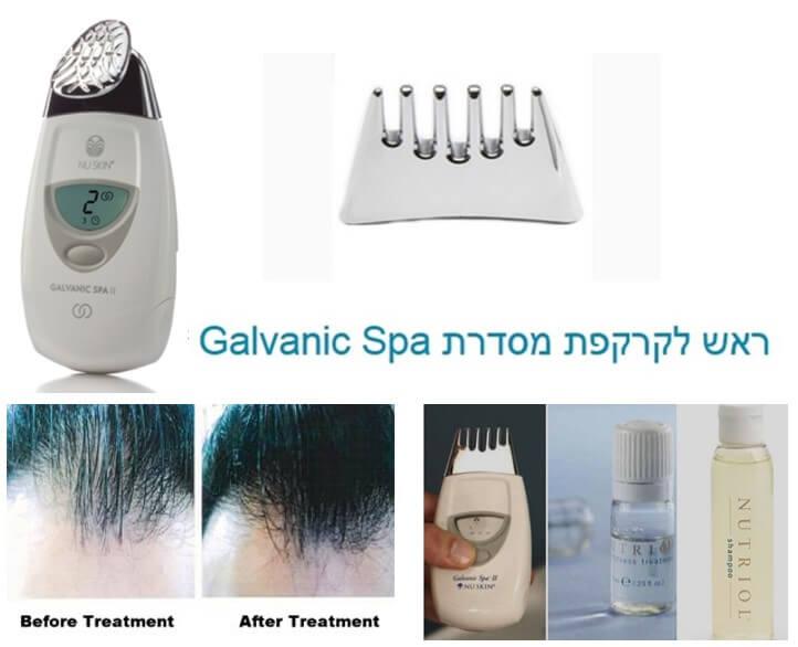 Galvanic Spa לטיפול בקרקפת לנשירת שיער, התקרחות ודילול שיער. תמונה של המכשיר עם הראש לקרקפת ושל גבר לפני ואחרי טיפול.
