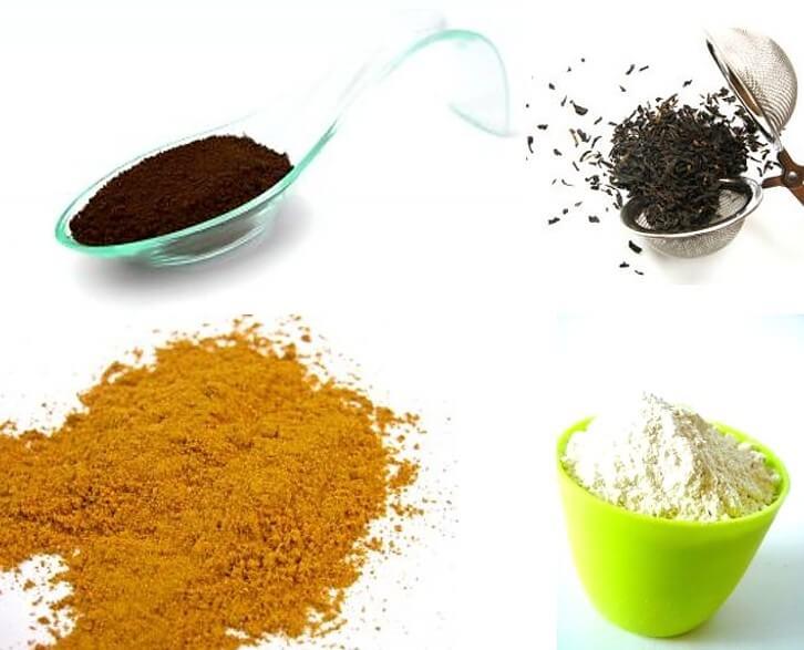 איך עוצרים מהר דימום מחתך? טיפ תה, קמח, כוכום וקפה לעצירת דימום. תמונה של כל המרכיבים.