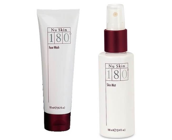 סבון פנים ומי פנים מסדרת 180 עם חומצות פעילות להבהרת העור. תמונה של הסבון ושל מי הפנים Face Wash And Facial Water 180