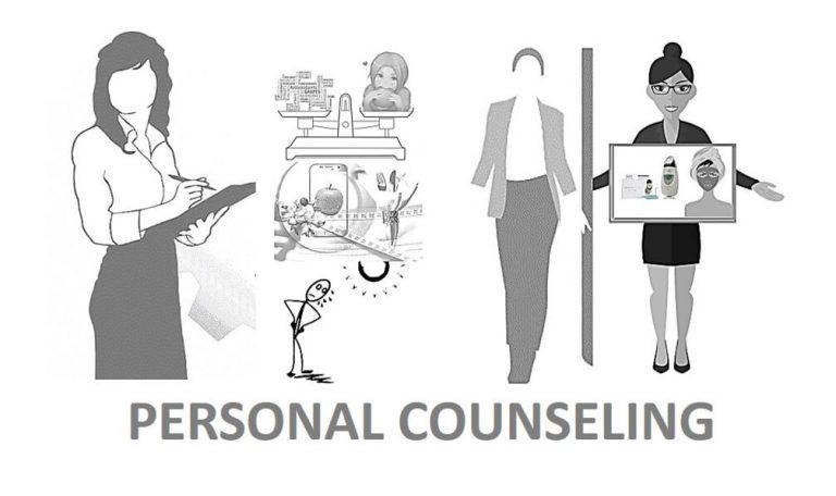 ייעוץ אישי I לעבוד איתי - חלי בן דויד יועצת תדמית אישית. תמונת איור של מדריכה מייעצת לאישה על טיפוח וסטיילינג.