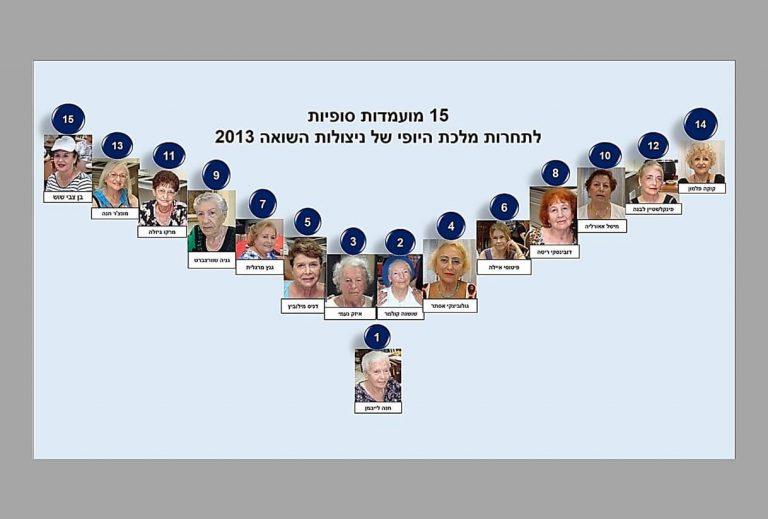 טקס תחרות מלכות היופי ניצולות השואה 2013 15 מועמדות סופיות. תמונת 15 מועמדות סופיות לתחרות