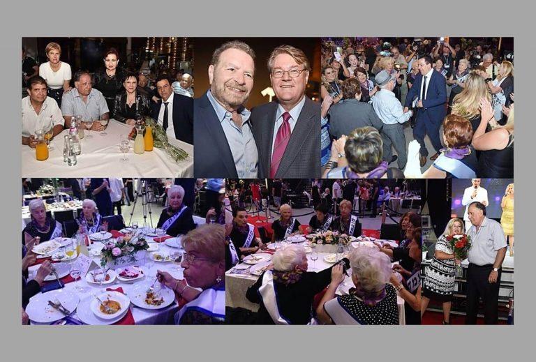 טקס תחרות מלכות היופי ניצולות השואה 2016 תמונת קולאז' אורחים נכבדים והמועמדות מתמקמים בשולחנות בערב התחרות.